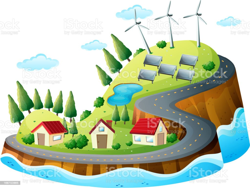 Houses, vanes and solar energy royalty-free stock vector art