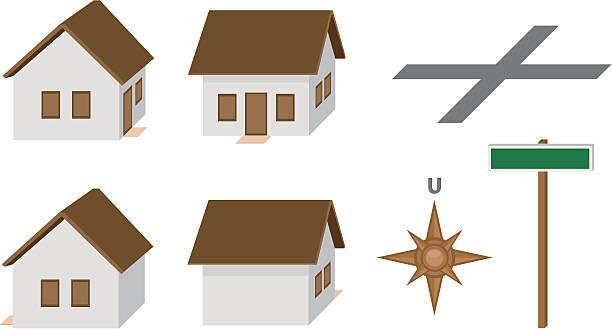 häuser - straßenschilder stock-grafiken, -clipart, -cartoons und -symbole
