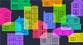 Colourful overlapping silhouettes different house types