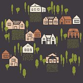 Hand drawn houses. Vector sketch  illustration.