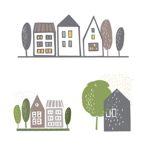 ilustraciones, imágenes clip art, dibujos animados e iconos de stock de casas. ilustración de boceto vectorial. - conceptos y temas