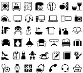Single color isolated icons of houswares, appliances and household products.