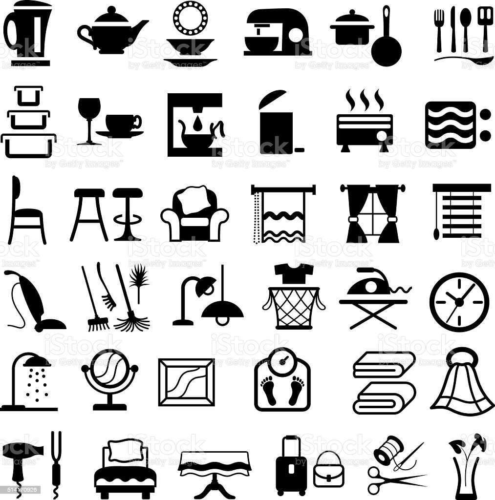 Housewares Icons vector art illustration
