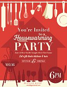Housewarming Party Invitation with red house silhouette on orange background and hanging kitchen utensils  along the top done in pale yellow silhouette.  Along the bottom is old-fashioned bbq, wine glasses,wine bottle,beer bottles and a plate with knife and fork done in red silhouette.  Invitation written in the middle.