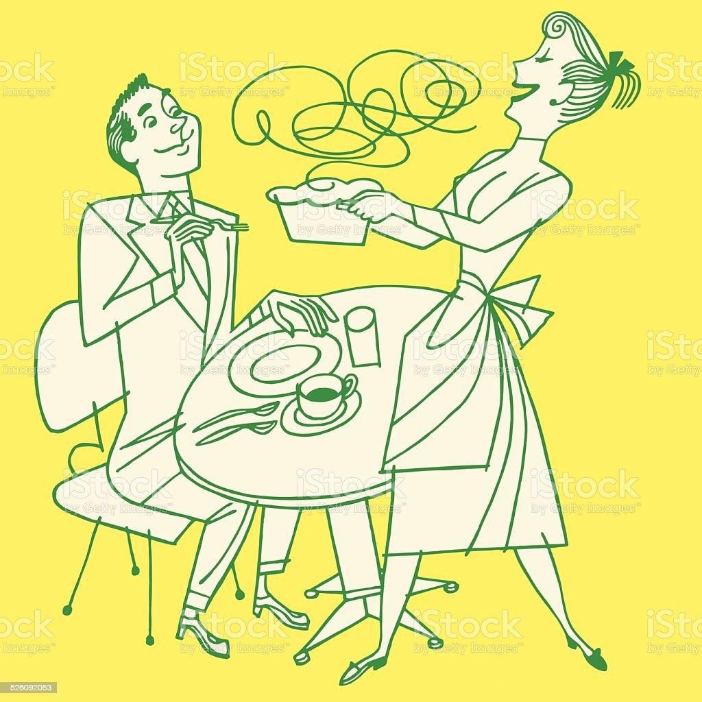 Housewife Bringing Dinner to Her Husband vector art illustration