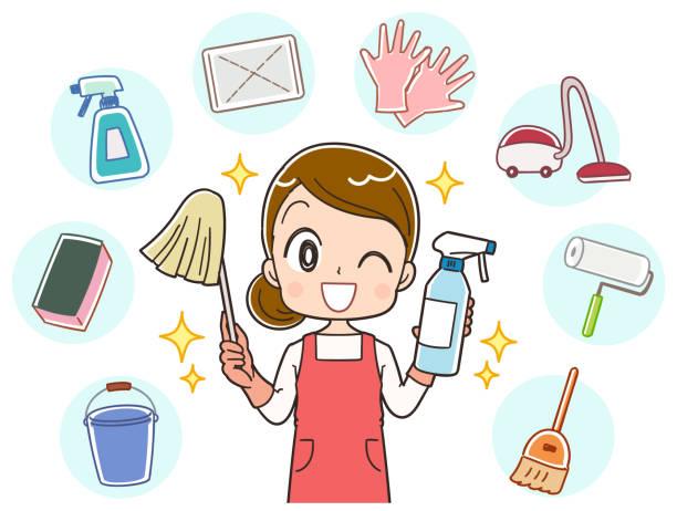 主婦はさまざまな洗浄 - 主婦 日本人点のイラスト素材/クリップアート素材/マンガ素材/アイコン素材