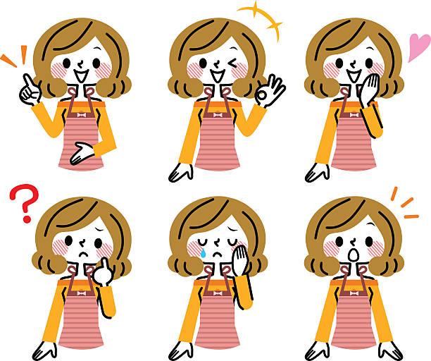 illustrazioni stock, clip art, cartoni animati e icone di tendenza di casalinga espressione - solo giapponesi