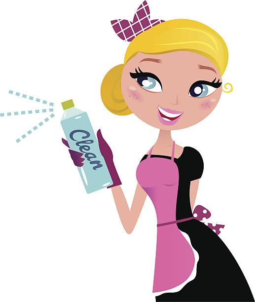 illustrazioni stock, clip art, cartoni animati e icone di tendenza di casalinga retrò cameriera francese con spray di pulizia isolato su bianco - cameriera