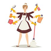 Housewife girl and home cleaning equipment icon in flat style
