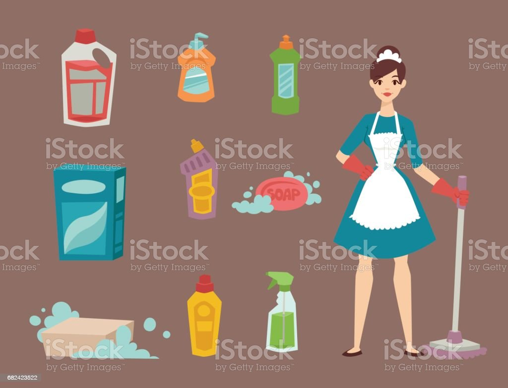 Housewife girl homemaker cleaning pretty girl wash cleanser chemical housework product equipment vector royalty-free housewife girl homemaker cleaning pretty girl wash cleanser chemical housework product equipment vector stock vector art & more images of adult