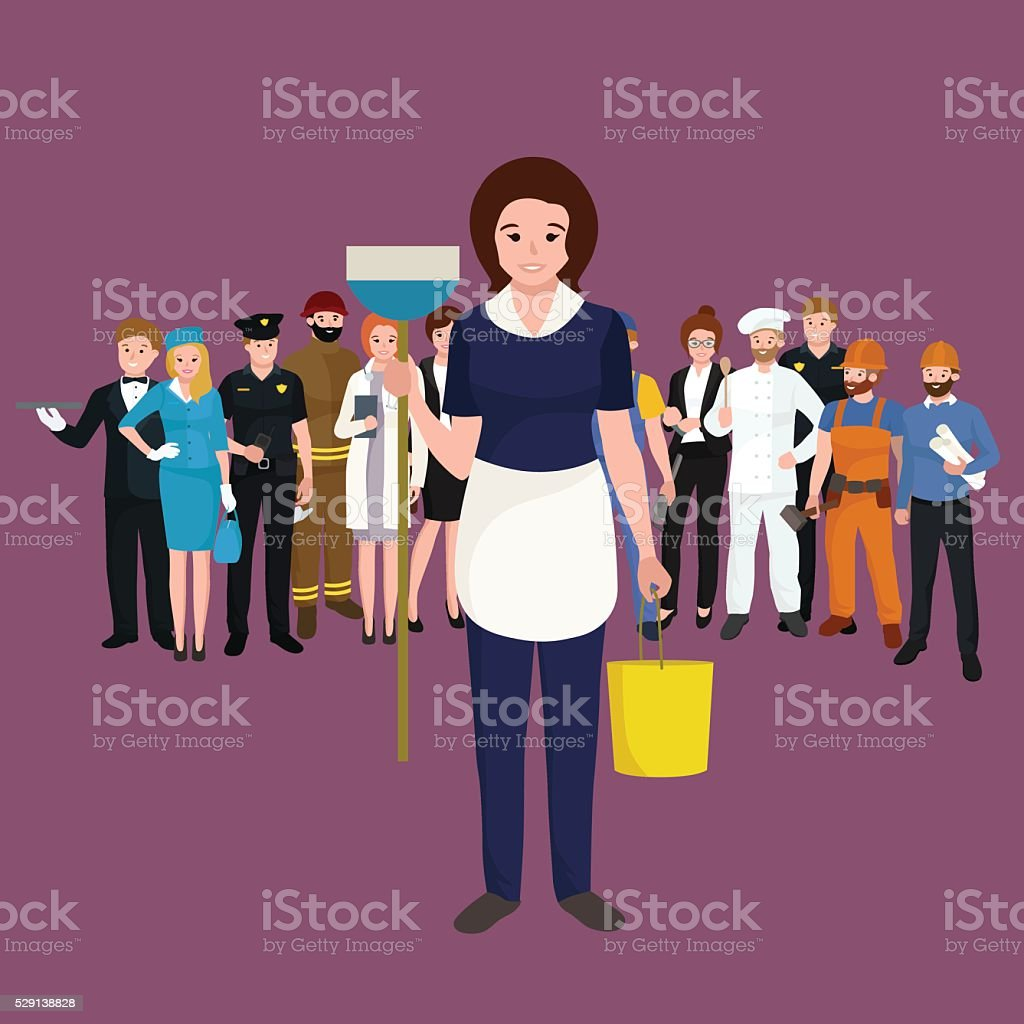 Housewife girl homemaker cleaning woman. Peoples profession team...