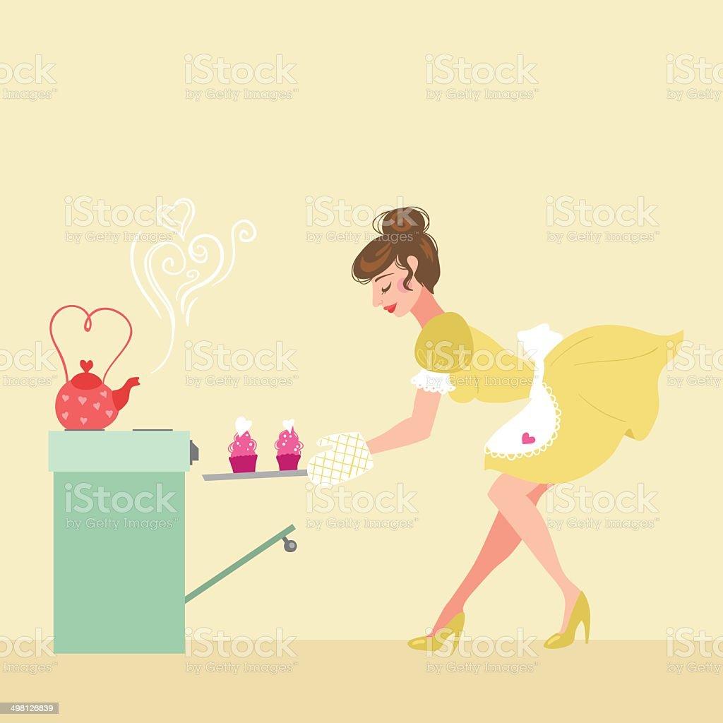 Housewife girl vector art illustration