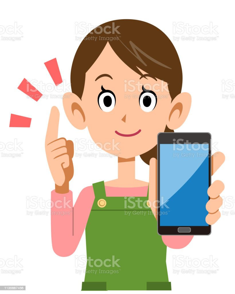 Housewife holding smartphone in hand and explaining key points