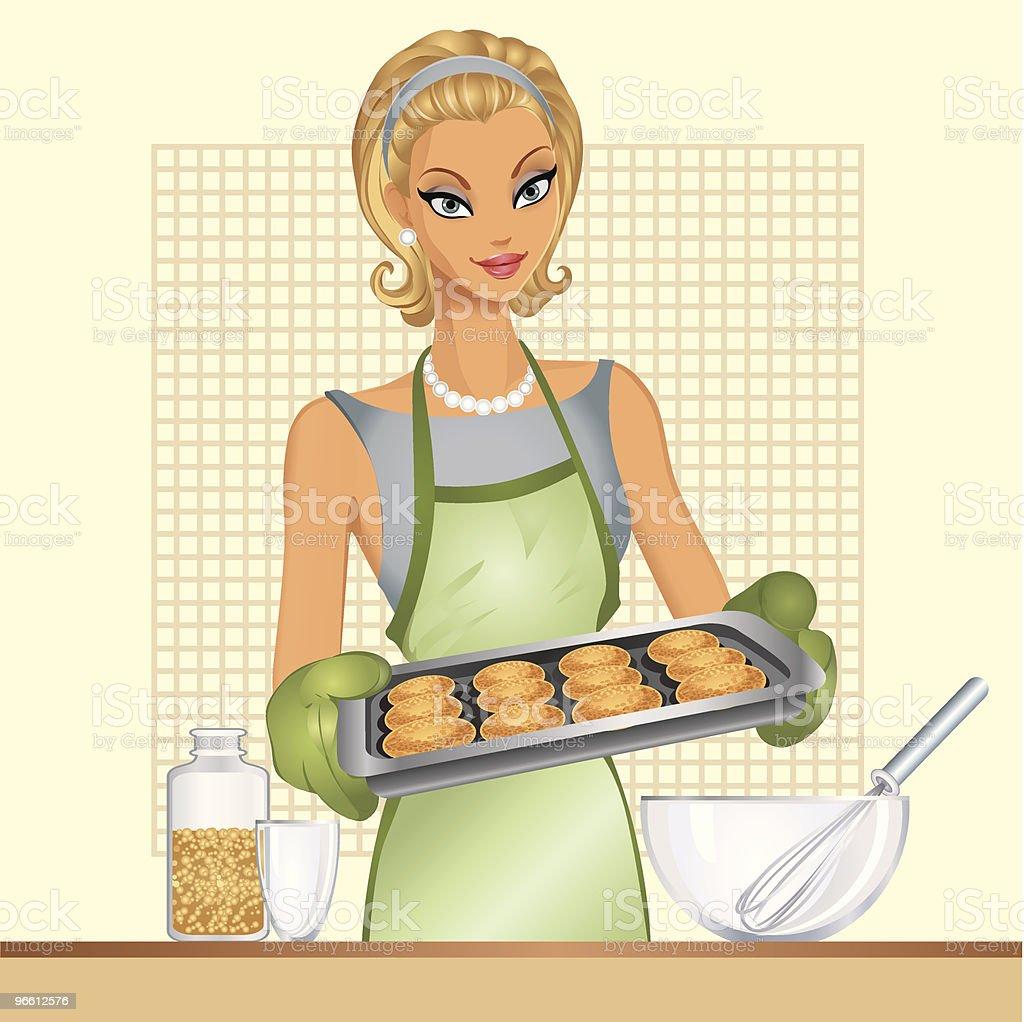 Housewife, home cookies - Royaltyfri Bakplåt vektorgrafik