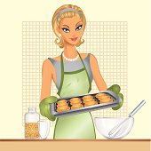 vector illustration. Pin-up women cooking.