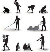 Housewives perform garden tasks.