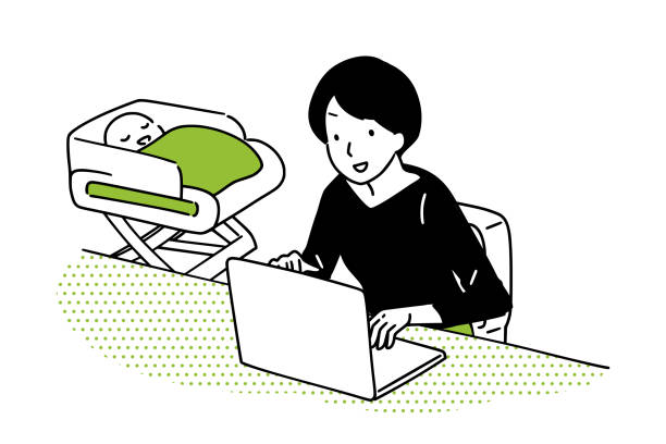 housewife operating a personal computer. - single mother stock illustrations