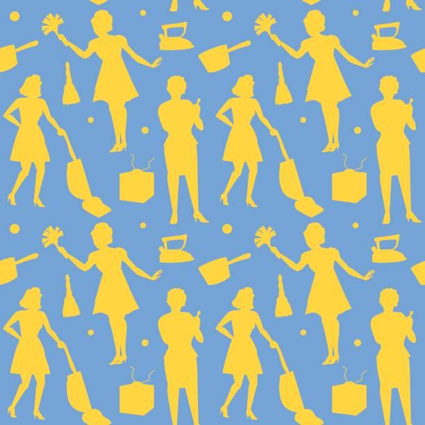 hausfrau frau retro-silhouette nahtlose muster - hausfrau stock-grafiken, -clipart, -cartoons und -symbole