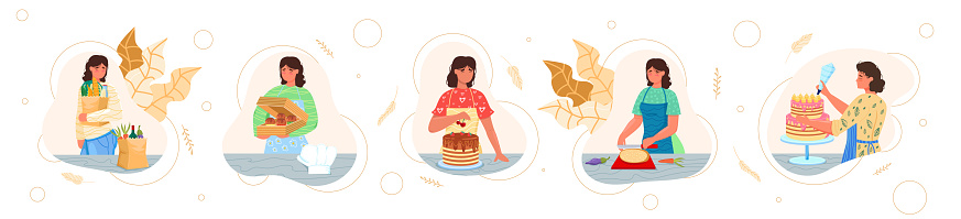 Housewife shopping for groceries, cooking and decorating homemade cake, cupcakes, flat vector isolated illustration.