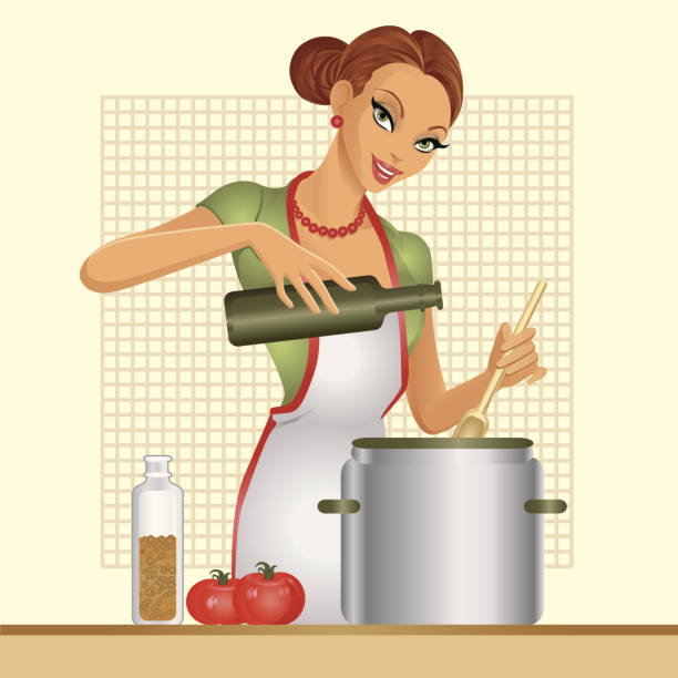 hausfrau. tomatensuppe. - hausfrau stock-grafiken, -clipart, -cartoons und -symbole