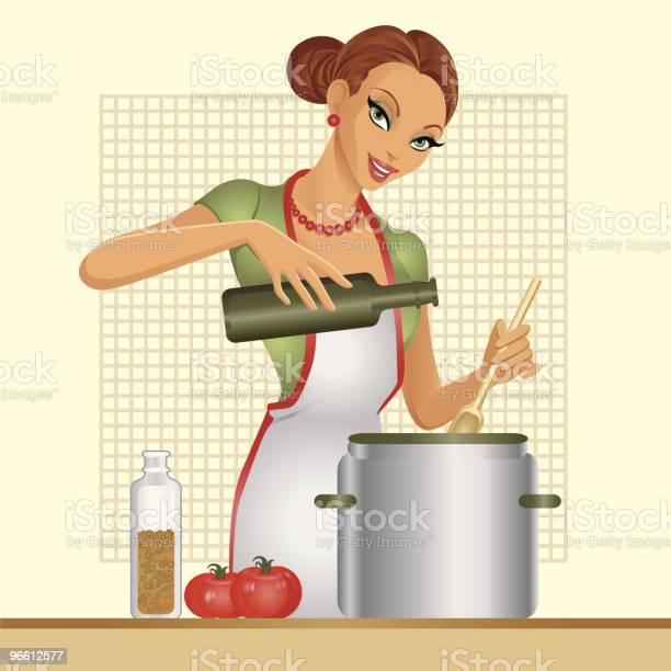 Housewife Tomato Soup-vektorgrafik och fler bilder på En människa
