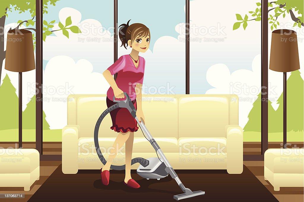 Housewife vacuuming carpet vector art illustration