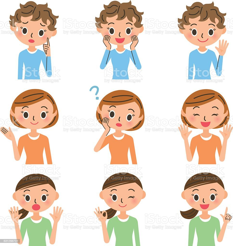 Housewife various poses vector art illustration