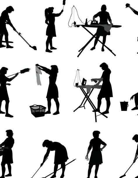 stockillustraties, clipart, cartoons en iconen met housewife - vrouw schoonmaken