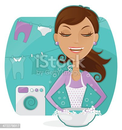 istock Housewife washed clothes 472279317