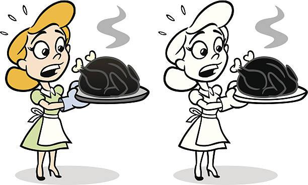 ilustrações de stock, clip art, desenhos animados e ícones de dona de casa com queimado turquia - burned cooking