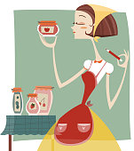 A 60´s housewife with jars of jam.