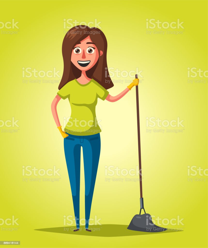 Housewife with mop. Cleaning theme. Cartoon vector illustration vector art illustration