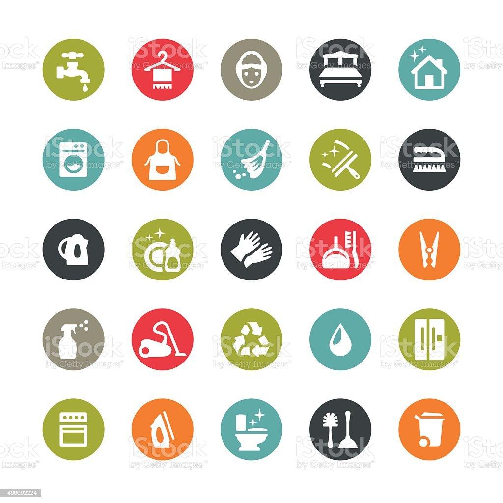 Hausarbeit und Reinigung Symbole/Ringico series – Vektorgrafik
