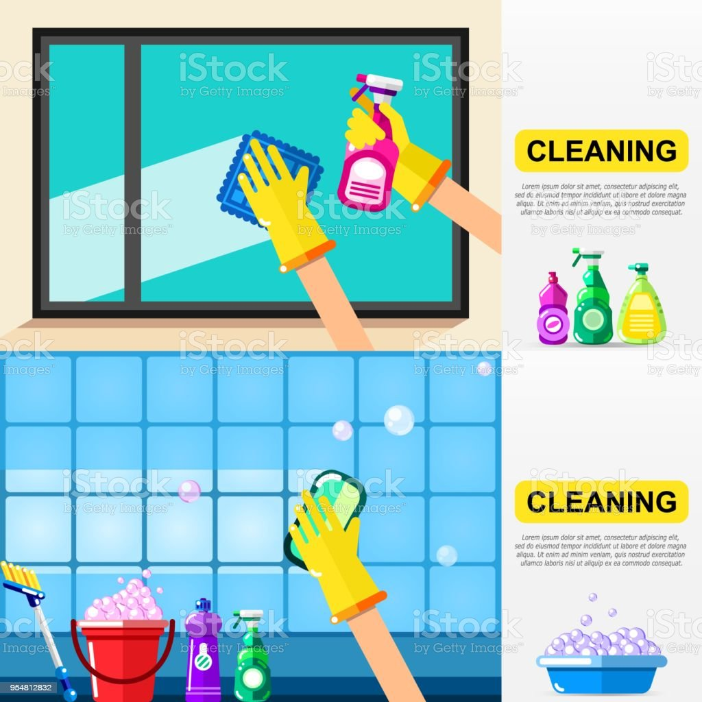 Housework And Cleaning Service Concept Window And Bathroom Tiles - Bathroom tile cleaning service