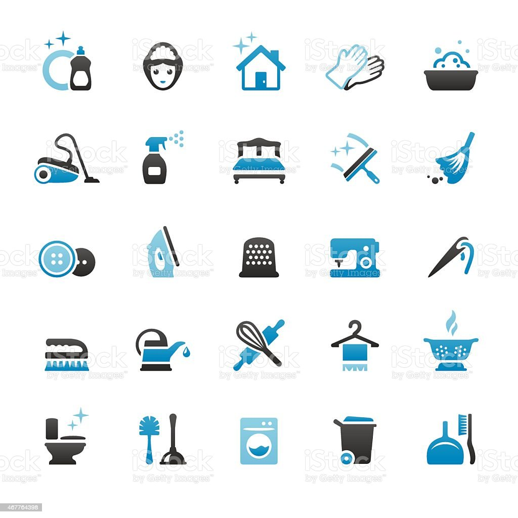 Housework and Cleaning vector icons vector art illustration