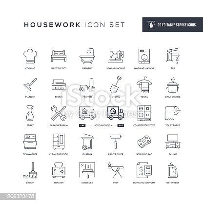 29 Housework Icons - Editable Stroke - Easy to edit and customize - You can easily customize the stroke with