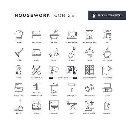 Housework Editable Stroke Line Icons