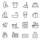 Housework icons set. Line with Editable stroke