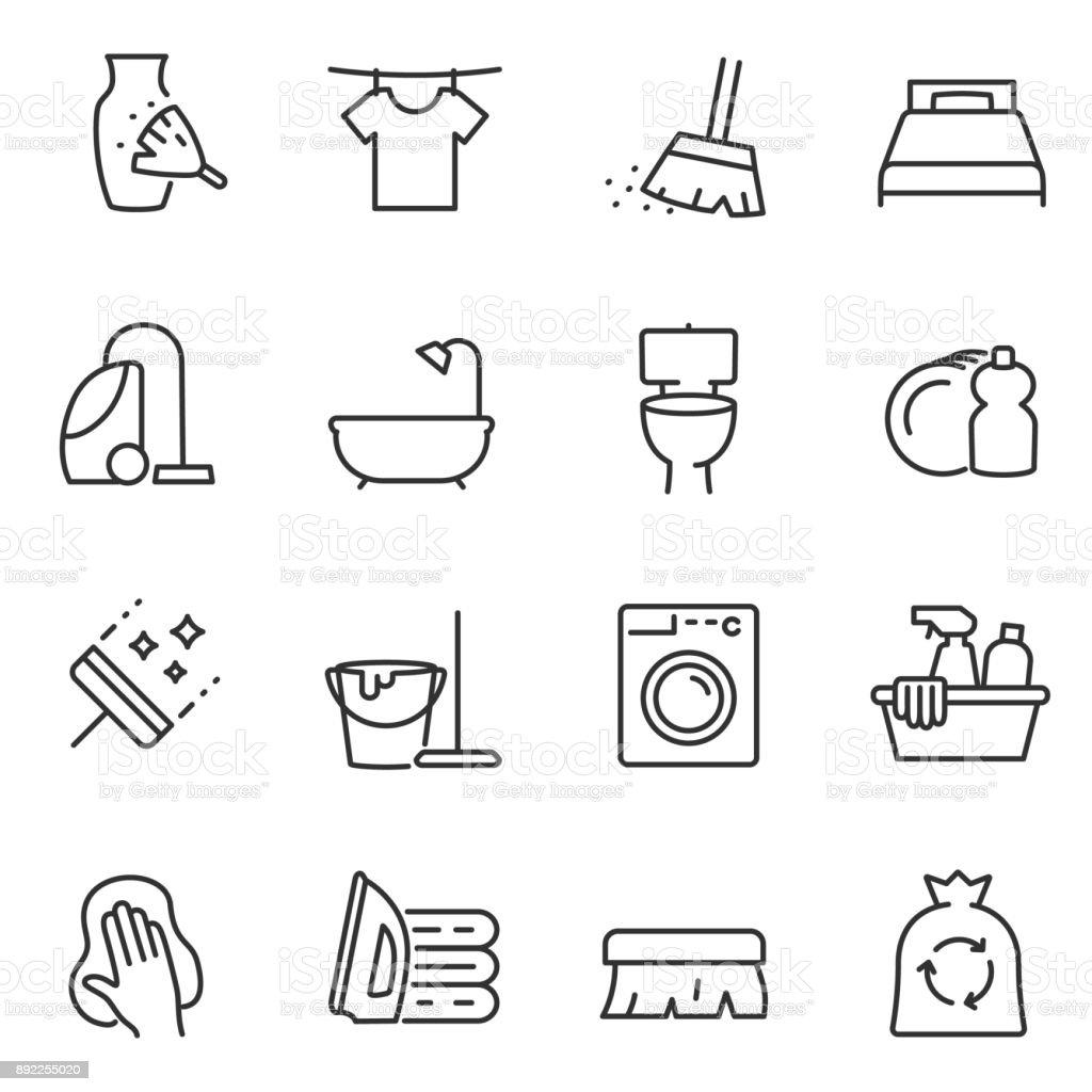 Hausarbeit Symbole festgelegt. Linie mit editierbaren Schlaganfall – Vektorgrafik