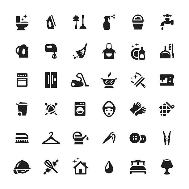 housework services vector symbols and icons - babysitter stock illustrations, clip art, cartoons, & icons