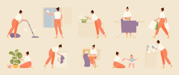stockillustraties, clipart, cartoons en iconen met huishoudelijk werk vector set - opruimen
