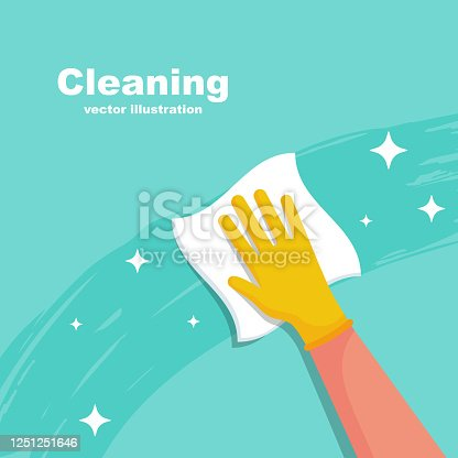 istock Houseworker wipes the surface with a napkin vector 1251251646
