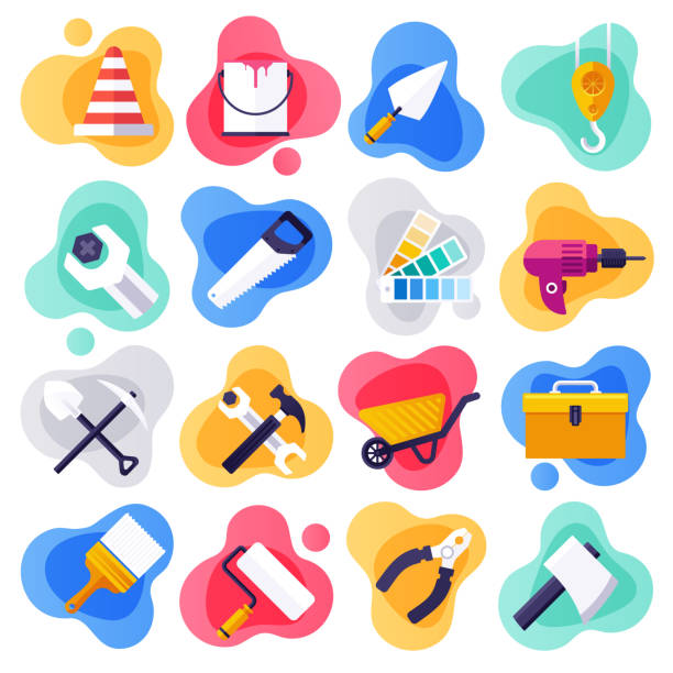 Housing Assistance & Handyman Service Flat Liquid Style Vector Icon Set Housing assistance and handyman service liquid flat flow style concept symbols. Flat design vector icons set for infographics, mobile and web designs. diy stock illustrations