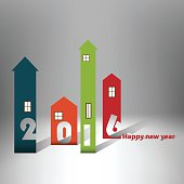 Housing background happy new year 2016 - Cover Calendar Design - Typography. Source file EPS10