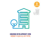 Housing development vector icon illustration for logo, emblem or symbol use. Part of continuous one line minimalistic drawing series. Design elements with editable gradient stroke.