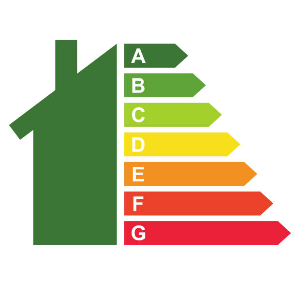 Housing energy efficiency rating certification system Housing energy efficiency rating certification system in the form of house energy efficient stock illustrations
