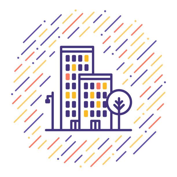 ilustrações de stock, clip art, desenhos animados e ícones de housing line icon - obras em casa janelas