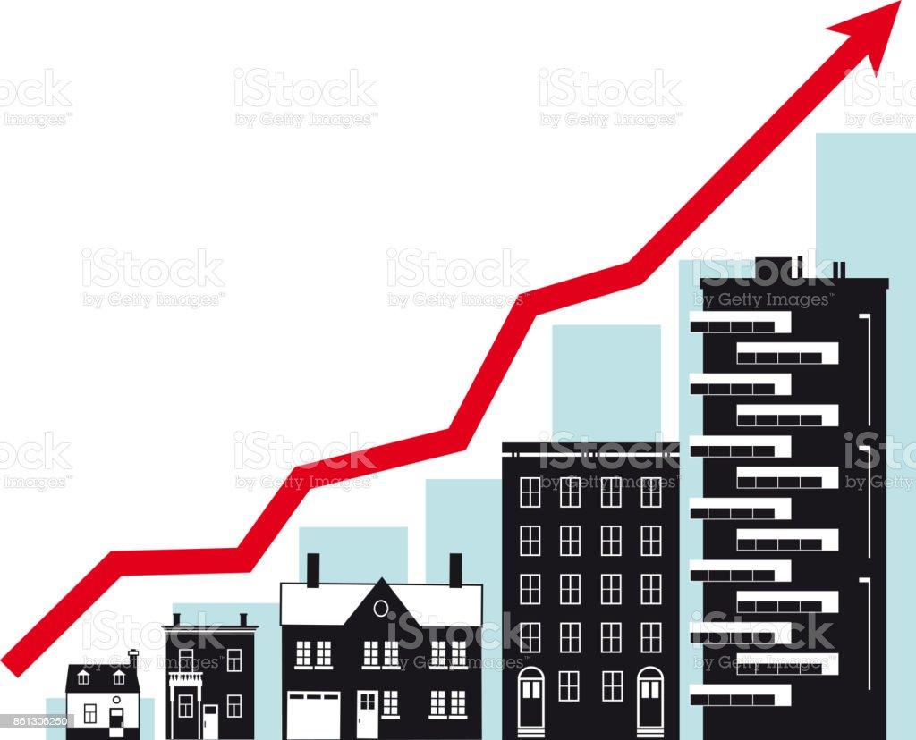 Housing market growth vector art illustration