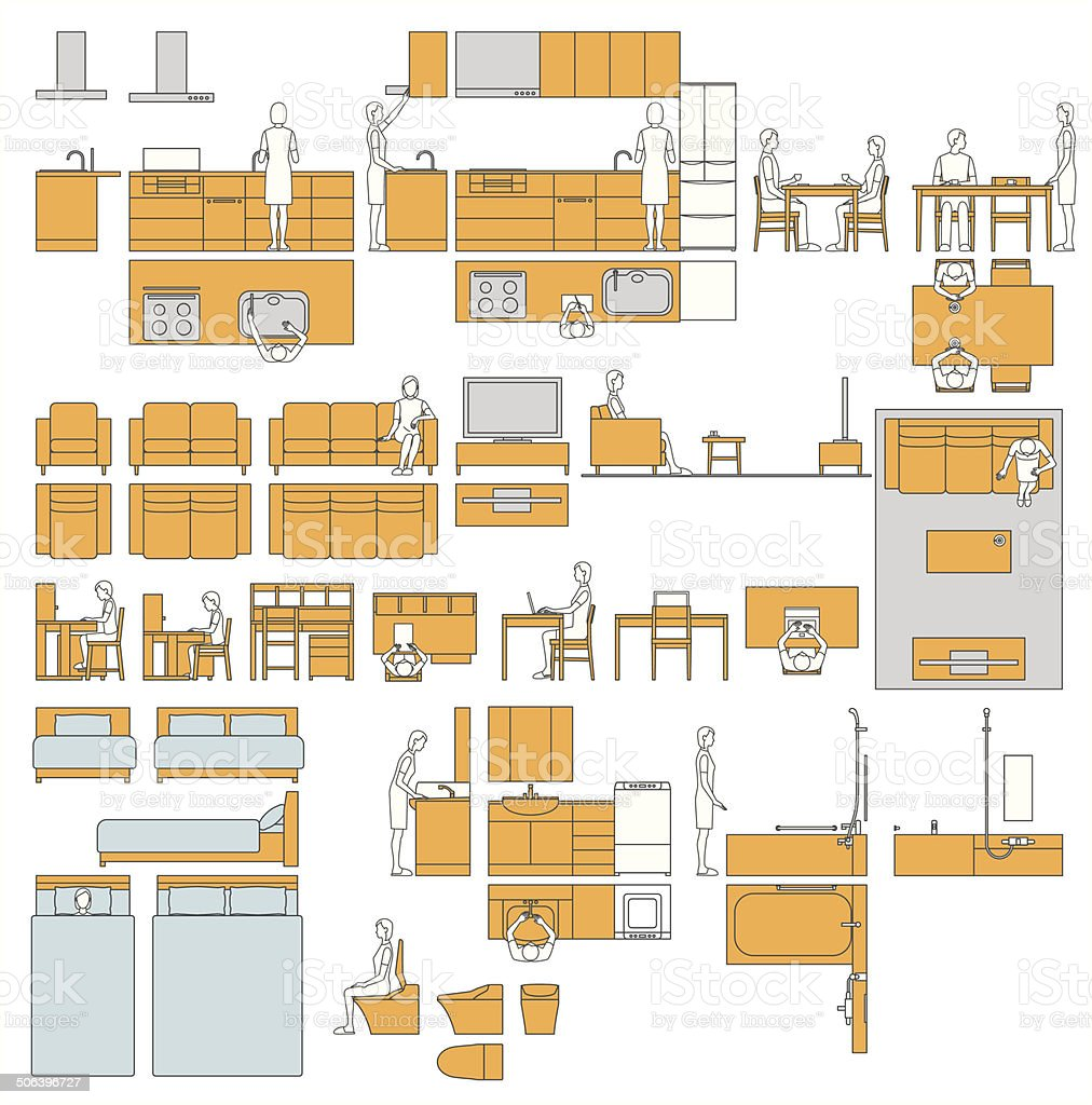 Housing. Room. Furniture. Layout vector art illustration