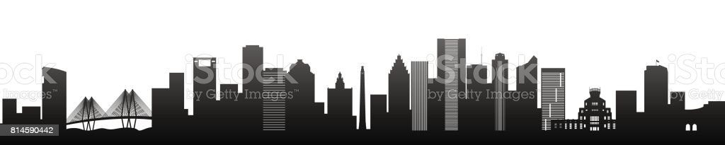 Houston, black silhouette skyscrapers and buildings. Panorama view.